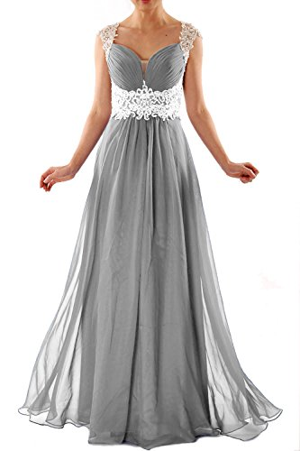 MACloth Women Cap Sleeve Lace Chiffon Long Prom Dress Wedding Party Formal Gown Silber