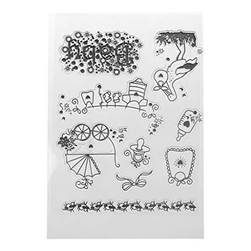 ECMQS Baby DIY Transparente Briefmarke, Silikon Stempel Set, Clear Stamps, Schneiden Schablonen, Bastelei Scrapbooking-Werkzeug