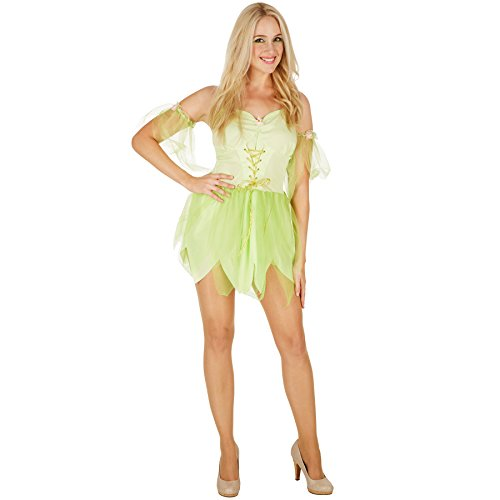 TecTake dressforfun Frauenkostüm Zauberfee Morgentau | Außergewöhnliches Kostüm für Karneval | Inkl. wunderschöner Armstulpen (S | Nr. 301175) (Tinkerbell Kostüm Halloween)