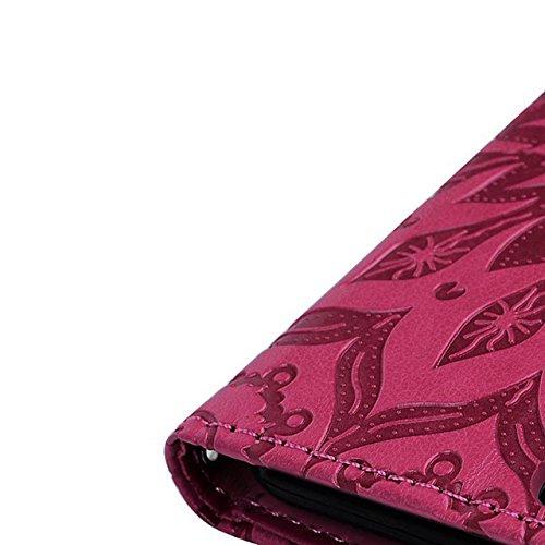 Vandot Custodia per iphone 5 5S SE,in Pelle Glitter Flip Case Cover di Morbida Corda Anti-Theft Carte Slot Credito Metallo Chiusura Magnetica Stand Protettiva Portafoglio Stile del Libro Caso Guscio p Mandala-Ross