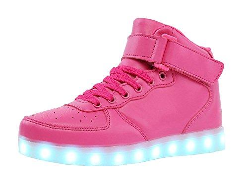TULUO Kind u. Männer u. Frau USB-aufladende LED 7 Farben-helle hohe SpitzenSneakers Helle Schuhe Pink 35 EU