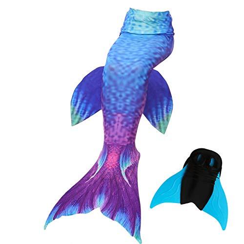 (UrbanDesign Meerjungfrau Flosse Zum Schwimmen Damen mit Monoflosse Bademode Badeanzug Kostüm Meerjungfrauenflosse Erwachsene Set, Erwachsener L, Raum Lila)