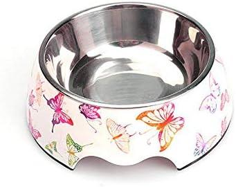 Daeou Ciotola del cane Farfalla fiore Pet ciotola acciaio inox inox inox antiscivolo cane da tavola 18x22x7.5cm | Aspetto piacevole  | Prodotti di alta qualità  890197