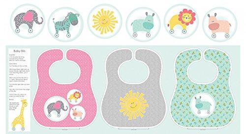 Baby Lätzchen Stoff Panel-grün/pink/grau-con07-von Contempo-100% Baumwolle -