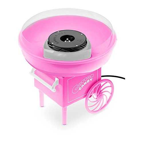 Bredeco BCZK-500-WT Zuckerwattemaschine für Zuhause Cotton Candy Maschine (Ø 27 cm, 500 W, 5 min Zubereitungszeit, Spülmaschinenfest, inkl. Zuckerlöffel & 10 Stäbchen) Pink Carnival-Design