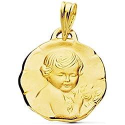 Médaille douce enfant de la fleur or 18carats 16mm Médaille naissance/baptême
