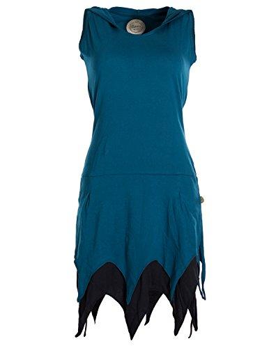 Vishes - Alternative Bekleidung - Ärmelloses Elfenkleid im Lagenlook mit Zipfeln und Zipfelkapuze aus Biobaumwolle türkis 34 (70's Hippie Chick Kostüm)