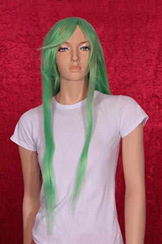 HeuSa Tech Perücke Damen lang grün Glatt