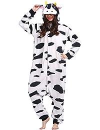 Kigurumi Pijama Animal Entero Unisex para Adultos con Capucha Cosplay Pyjamas Vaca Ropa de Dormir Traje