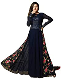Skyblue fashion Blue Georgette Embroidered Dress Material