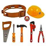 Plastic Construction Helmet Toy Hard Hat Builder Workman Tool Belt With Tools