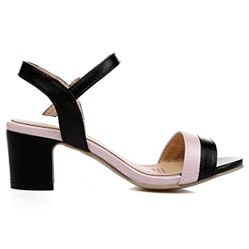 COOLCEPT Femmes Mode Cheville Bloc Talons hauts Slingback Chaussures Noir