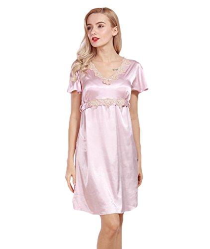 WanYang Donna Pizzo Abbigliamento Da Notte Vestaglie Pigiama Bretelle Gonna Camicia Da Notte Estate Rosa pallido grigio
