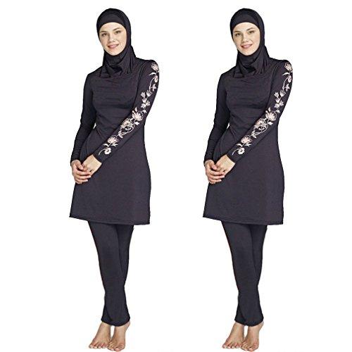 Muslim Bademode Frauen zurückhaltenden Badeanzug Beachwear Islamische Schwimmen Kleidung für Mädchen Hijab Burkini, damen, schwarz (Licht-t-shirt 5)