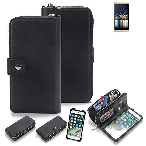 K-S-Trade 2in1 Handyhülle für Switel Champ S5003D Schutzhülle & Portemonnee Schutzhülle Tasche Handytasche Case Etui Geldbörse Wallet Bookstyle Hülle schwarz (1x)