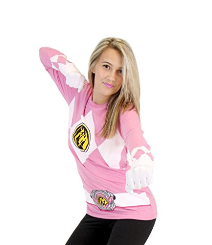Power Rangers The Long Sleeve Ranger Costume Pink T-shirt (Adult XX-Large)