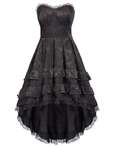 Belle Poque Damen Steampunk Gothic Schatz Spitze Dovetail Party Kleid 34 Schwarz