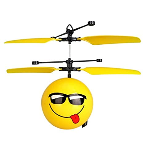 RC Drone Toys - Infrared Sensor Hand Induced Flight Emoji Flying Helicopter Balls by Familizo (Yellow A)