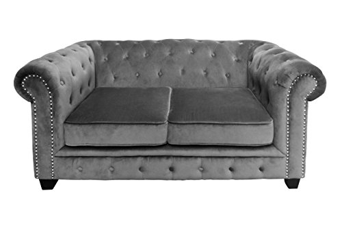 Premier-Housewares-2404073-Regents-Park-Chesterfield-Divano-da-2-Posti-VellutoBorchiette-Grigio