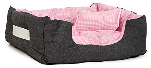 EYEPOWER Katzenbett Hundebett 60x50x18 cm Katzenkissen Hundekissen Waschbar Tierkissen Tierbett Innenkissen Pink
