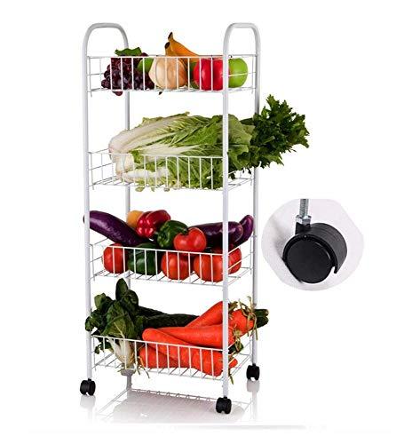LOOSMD 4-lagiger Rollwagen für die Küche, praktischer Rollwagen für das Lagerregal, multifunktionaler Wagen mit Rädern aus Kohlenstoffstahl für Gemüse und Obst. 4 Reifen für Zuhause/Büro/Bad