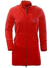 TEXTPLAY - Rouge Fermeture à glissière pour femme Long Longueur Style SweatShirt By GEAR