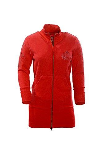 TEXTPLAY - Rouge Fermeture à glissière pour femme Long Longueur Style SweatShirt By GEAR Red