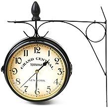 "'Platinet doble cara Reloj de pared ""New York Grand Central-Negroh2>"