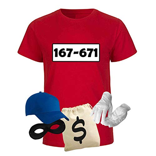 T-Shirt Panzerknacker Kostüm-Set Deluxe+ Cap Maske Karneval Kids 98-164 Fasching Sitzung, Größe:Gr. 134/146 (9-11 Jahre), Logo & Set:Standard-Nr./Set Deluxe+ - Kind Deluxe Kostüm