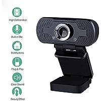 Innoo Tech Webcam 1080P Full HD Web Camera USB Desktop Laptop PC Webcam with Built-in Microphone USB Plug & Play for Live Broadcast Video Meeting Black