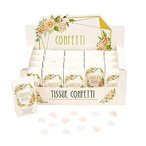 Neviti 775127 Geo - Confeti de tela (20 unidades), diseño floral, color rosa, melocotón y dorado, 10 x 5 x 3