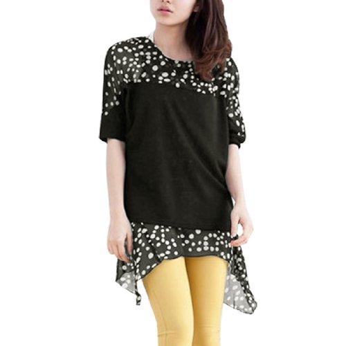 Encolure dégagée en mousseline de soie pour femme Ourlet asymétrique faux 2 pièces-T-Shirt-Noir/Blanc-Taille XS noir,blanc