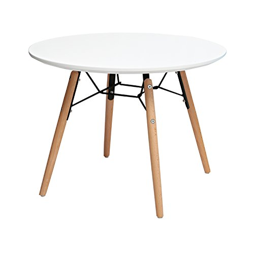 2xhome Contemporary Mid Century Modern Plastic Eames Chair for Kids Size Eames Side Chairs Eames Chairs or Single Kids Round Circle Activity Table White for Living Room