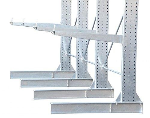 3,3m Kragarmregal verzinkt, 300cm hoch, 100cm tief, 3 Kragarmebenen – Langgutregal Schwerlastregal - 6