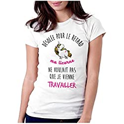 - T-Shirt Désolé pour Le Retard, ma Licorne.