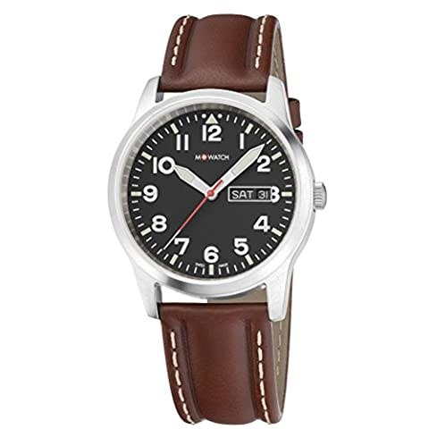 M-Watch Men's Quartz Watch with Black Dial Analogue Display and Brown Leather Strap WBL.08320.LG