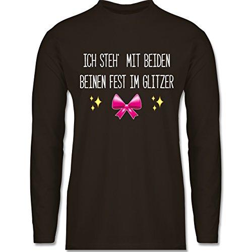 Shirtracer Statement Shirts - Ich Steh' mit Beiden Beinen Fest IM Glitzer - Herren Langarmshirt Braun
