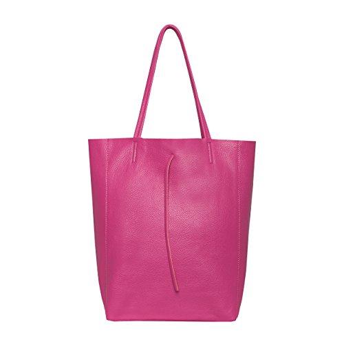 Pink Taschen (SKUTARI Original Vittoria Classic Shopper, Laptop- und Einkaufstasche aus echtem Leder mit extra langen Griffen und Reißverschlussinnentasche, handgefertigt in Italien | Pink, 36 x 38 x 13 cm)