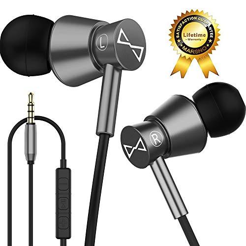 Marsno M2 Auricolari Cuffiette Stereo con Microfono, Completamente in Metallo, Microfono e Controllo del Volume,Isolamento Acustico,Bassi Potenti e Profondi,per Android e iPhone(Grigio)