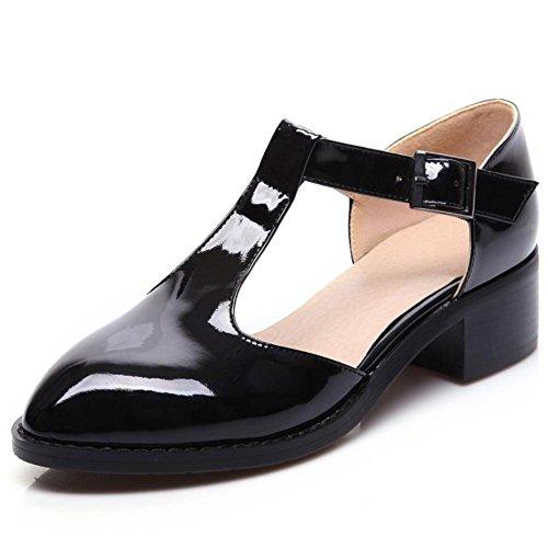 COOLCEPT Femmes Mode Cut Out Bureau Court Chaussures Mary Jane Bloc Talon Moyens Noir