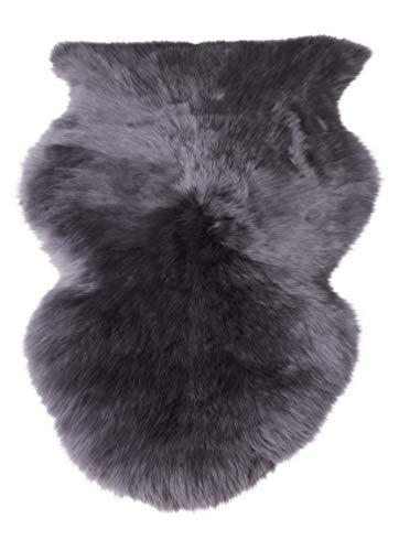 Preisvergleich Produktbild Naturasan Premium Schaffell Lammfell Langhaar Naturfell Teppich,  Dekofell,  Lounge Style,  Sitzauflage,  Läufer,  Vorleger (Dunkelgrau,  100-110cm)