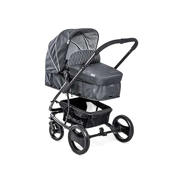Hauck Pacific 4 Shop N Drive, Lightweight Pushchair Set with Group 0 Car Seat, Carrycot Convertible to Reversible Seat, Footmuff, Large Wheels, From Birth to 25 kg, Melange Charcoal Hauck  6
