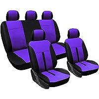 WOLTU AS7288pk Fundas de asiento universales para fundas de asiento de automóvil fundas de asiento cubiertas, imitación de cuero, negro-rosa