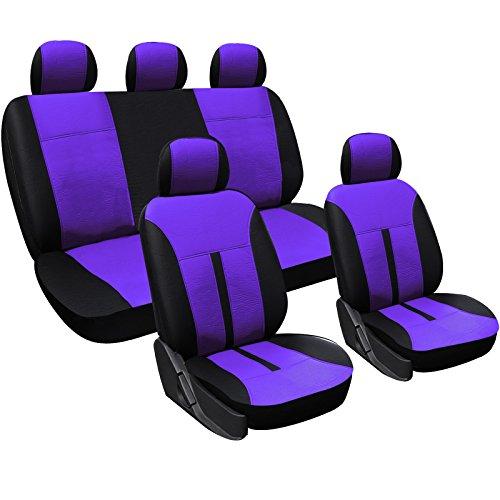 WOLTU AS7288la Universal Schonbezüge für Auto Sitzbezüge Sitzschoner Sitzbezug Auflage, Kunstleder, Schwarz-Lila
