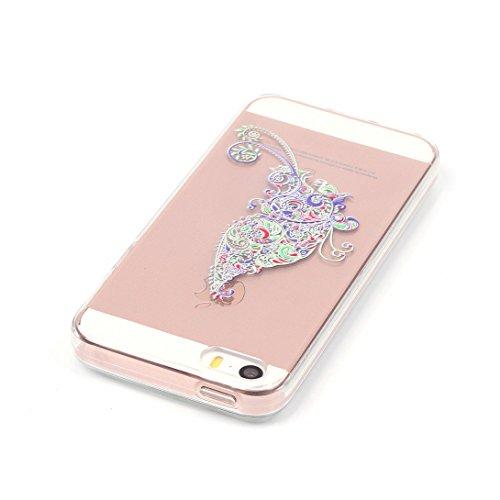 Pheant®[4 in 1] Apple iPhone 5S/5/SE Coque Gel Étui Housse de Protection Transparent Cas avec Verre Trempé Protecteur d'écran Stylet Bouchon Anti-poussière(Orchidée) Papillon Elf