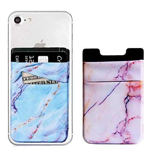 Marmor-Handy-Kartenhalter für iPhone, Android und alle Smartphones, 2er-Pack, Schwarz/Weiß, blau/Rose -
