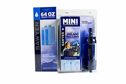 Sawyer MINI Original Wasserfilter SPARSET mit 3 x 1 Liter oder 2 x 2 Liter Trinkbeutel