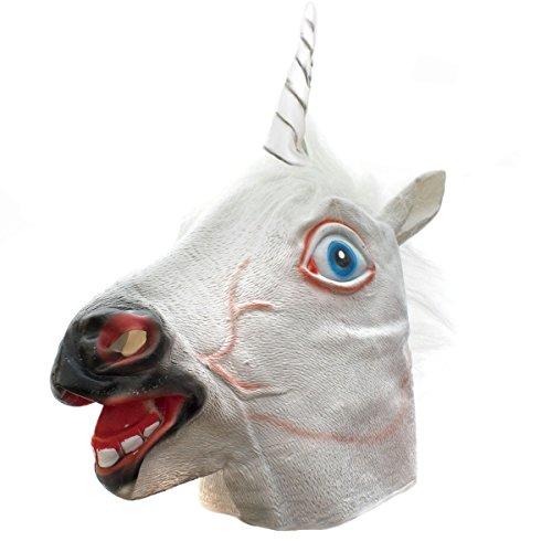 aske Einhorn Latex Maske für Halloween Tiermaske Pferd Kostüm (Latex Einhorn Maske)