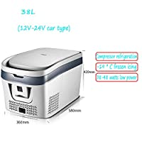 YIWANGO Energy Saving Car Refrigerators 28L Storage Food Drink Cosmetic Mask Breast Milk Medicine Convenient Durable Cool Box Cold 12-24V-220V Travel Picnic Mini Car Fridge,Silver38LForCarOnly