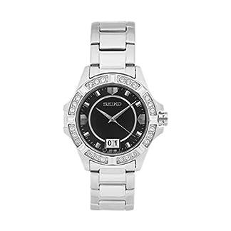 Seiko–sur807p1–Reloj Mujer–Cuarzo Analógico–Reloj Negro–pulsera acero gris